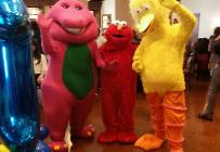 Barney, elmo & big bird at a birthday party in Houston, Texas.