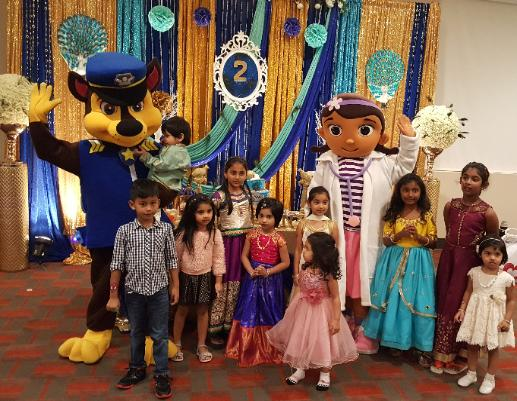 Katy children's birthday parties are more fun with mascot costumed characters like doc and the police dog.