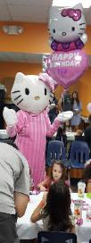 Kids birthday party fun at the little gym on stella link with this kitty mascot costumed character.