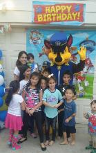 Chase from paw patrol rental in Katy, Texas for a mascot birthday party.
