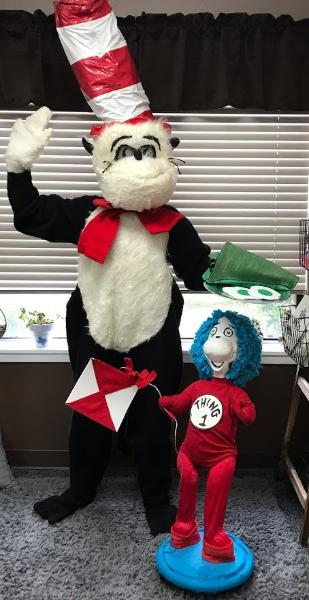 Hire our Hat cat available with Thing and eggsalent props. When you need a mascot costumed character for your child's birthday party in Houston call us.