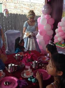 Princess cinderella at a tea party in Houston for a birthday.