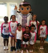 Rent Doc Mcstuffins mascot for a birthday party in Pearland, Texas.