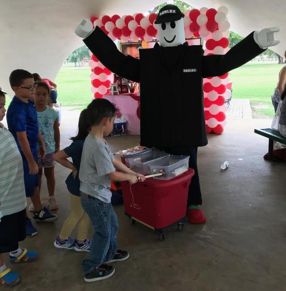 Rent this mascot costumed character for birthday parties for kids that love the roblox game.