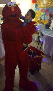 Rent a fun loving mascot costumed character for your next Houston birthday party like Elmo and Aaron here at his birthday.