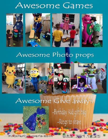 Party Characters For Kids In Houston Texas With Awesome Mascot Costumed Great Theme Games