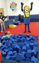 Minion mascot rental in Katy, texas for a birthday party.