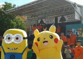 Minion and Pikachu mascots party near downtown Houston, Texas.