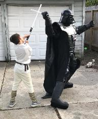 Houston superhero character rental like darth vader bring the highest quality lightsabers and pose for youe childs birthday party.