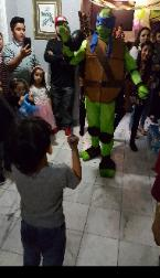This superhero turtle is available to rent for your childs Houston birthday party to do superhero training like the real thing.