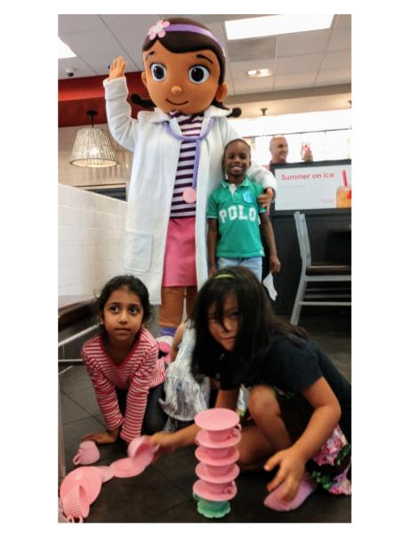 Rent the toy doctor mascot character for your childs birthday party with theme games and grand memories