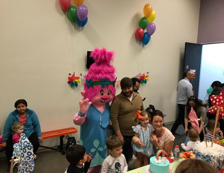 Princess Poppy Troll mascot birthday party in Houston